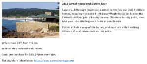 Copywriting example: Carmel House and Garden Tour event