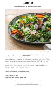 Copywriting example: announcement for a Menlo Park, California restaurant