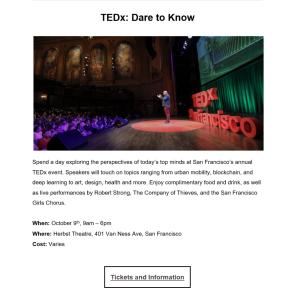 Copywriting example: announcement for a San Francisco TEDx talk