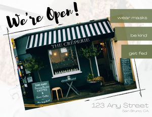 Sign/poster/postcard for small businesses: Yes, we're open! (front)