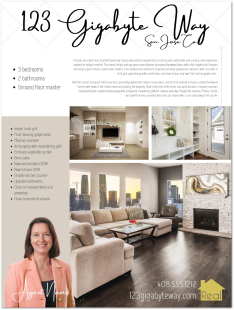 Sample real estate listing flyer with professional property description copywriting