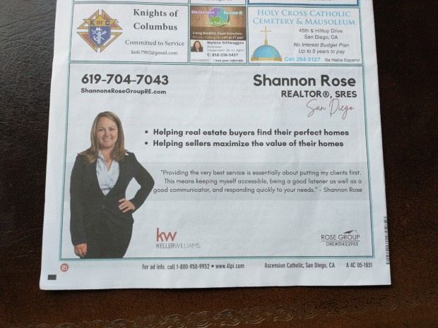 Real estate agent magazine ad